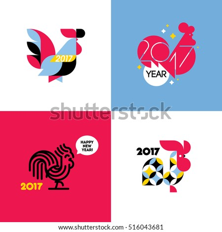 New Year design with silhouette of rooster. Set of modern flat style vector illustrations of cock as symbol of 2017 year on the Chinese calendar. Collection of beautiful roosters