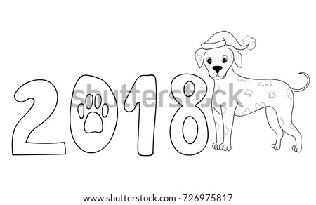 New Year Dog 2018 Dalmatian Coloring Page