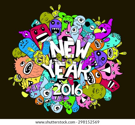 new year 2016 doodle hipster colorful background