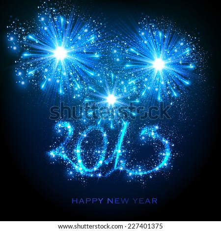 New Year 2015, easy editable - stock vector