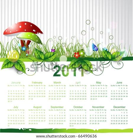 new year eco green calendar design - stock vector