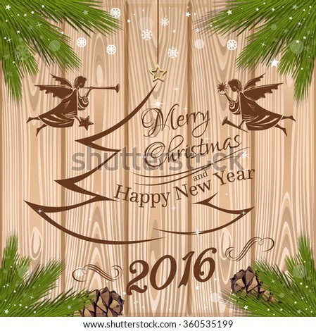 New Year 2016. Festive background for Christmas, New Year and Epiphany. Angels around the Christmas tree. Vector illustration. - stock vector