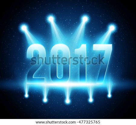 New Year 2017 festive party vector background with bright illuminated stage and bokeh lights. Magic glowing greeting card for winter holidays
