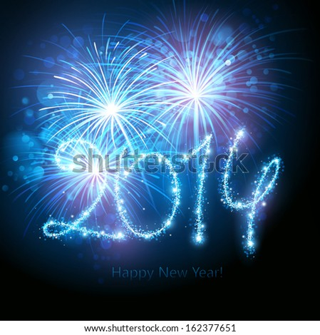 New Year 2014 fireworks - stock vector
