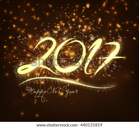 New Year 2017 fireworks - stock vector