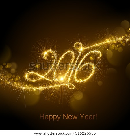 New Year fireworks and confetti 2016. Vector illustration. - stock vector