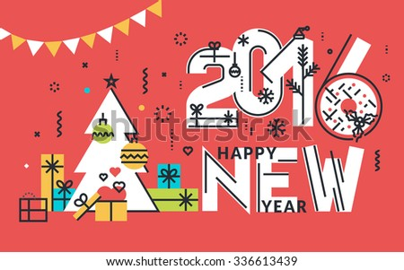 New Year flat line design concept for greeting card, web banner, marketing material. - stock vector