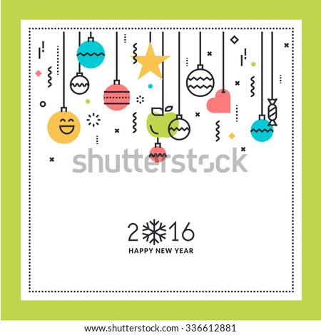New Year flat line design greeting card. Vector illustration for website banner and marketing material. - stock vector