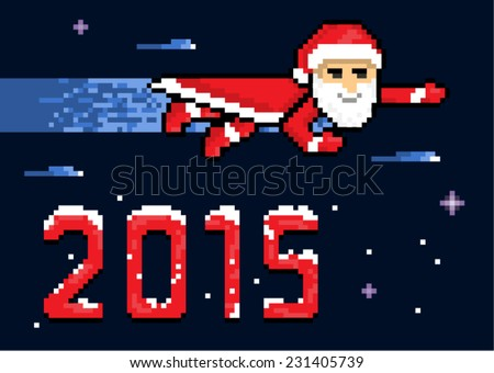 New Year Flying Superhero Santa In Space, pixel art style illustration - stock vector