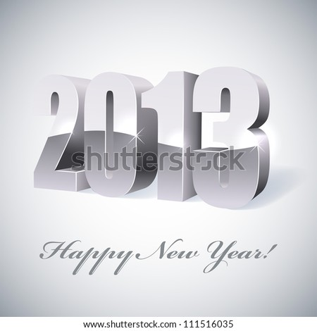 New 2013 year glossy silver figures vector illustration. - stock vector