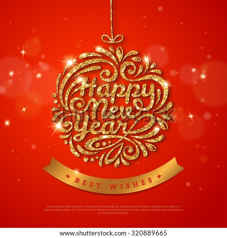 New Year Gold Glowing Poster Template Design. Vector illustration. Greeting Card with Shining Gold Bauble and Gold Silk Ribbon. Happy New Year Lettering. Typographic Design. Glowing Red Backdrop - stock vector
