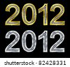 New year 2012 golden and silver with diamonds, vector illustration - stock vector