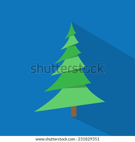 new year green christmas tree over blue background flat icon design vector illustration