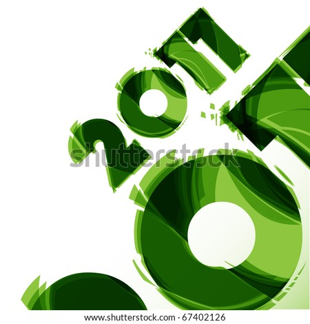 New year green illustration - stock vector