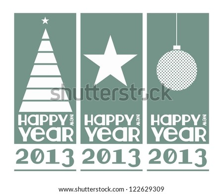 New 2013 year greeting card and banner made in vintage style, vector illustration, happy new year. - stock vector