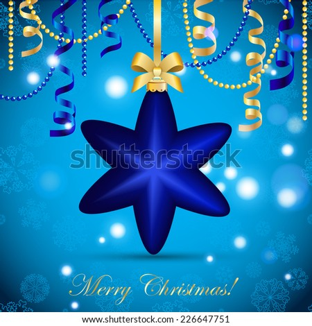 New Year greeting card. Christmas Star Ball with Ribbon. Xmas Decorations. Sparkles and bokeh. Shiny and glowing. Holiday Design. Vector. - stock vector