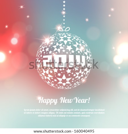 New Year 2014 Greeting Card in minimalistic style. Colorful bokeh abstract background with circles of light. Invitation with place for your text message. Vector illustration. - stock vector