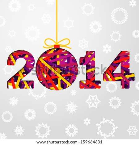 New Year 2014 greeting card made from bundle of bright laces on the paper with snowflakes. 2014 cut through the paper.  With shining glares. With free place for your text.