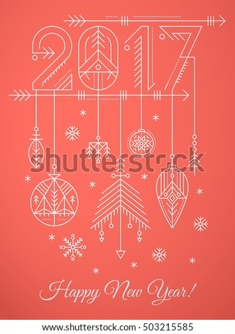 New Year Greeting Card Template Hanging Stock Vector 501278692