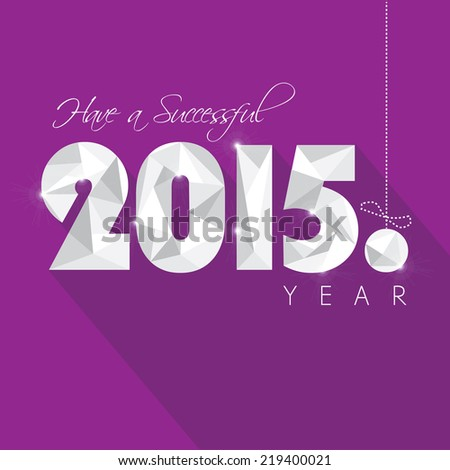 new 2015 year greeting card vector illustration in low poly style and trendy long shadow effect on purple background - stock vector