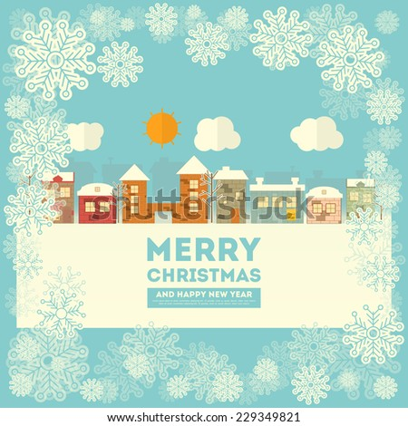 New Year Greeting Card - Winter Christmas Little Town with Snow Frame. Vector Illustration. - stock vector