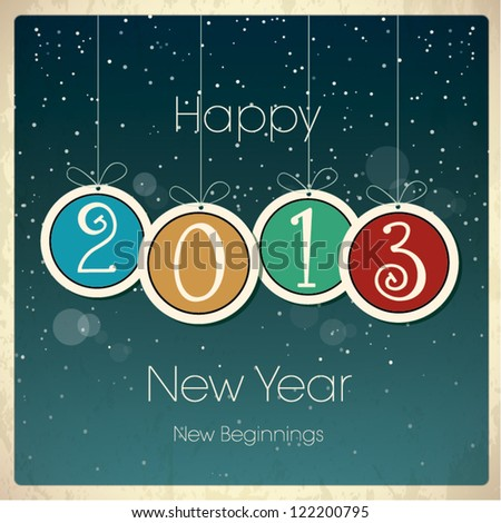 New Year Greeting Card with Baubles - stock vector