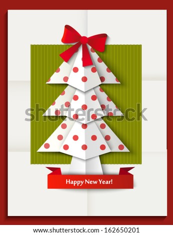 New  year greeting card with new year tree made in origami style, vector illustration - stock vector
