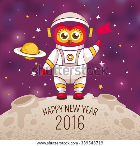 New Year greeting card with owl astronaut in a human space suit, vector illustration, contains gradient mesh - stock vector