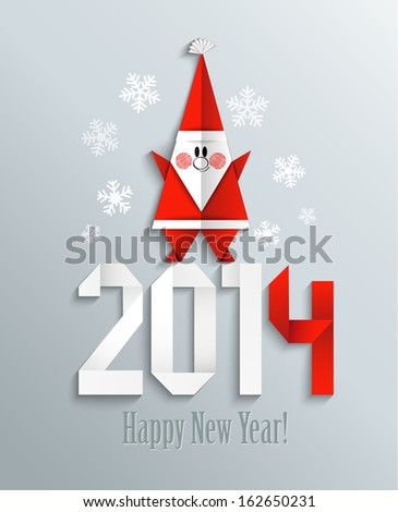 New 2014 year greeting card with Santa made in origami style, vector illustration - stock vector