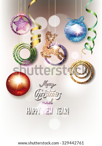 New year greeting card with  shiny balls for christmas tree - stock vector