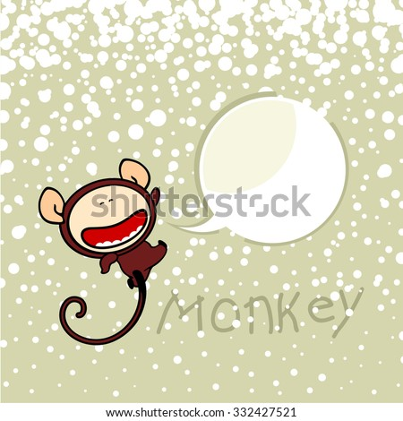 New year greeting card with the Monkey and speech bubble window for your text - stock vector