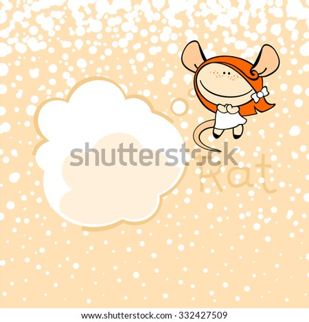 New year greeting card with the Rat and thought bubble window for your text - stock vector