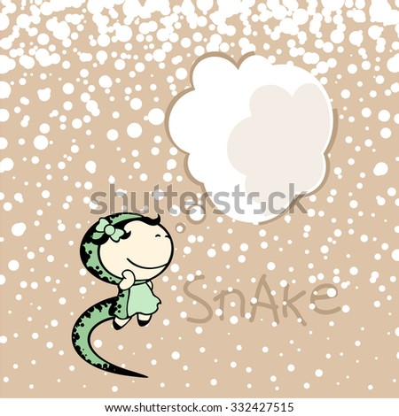 New year greeting card with the Snake and thought bubble window for your text - stock vector