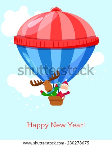 New year greeting. Hot air balloon with Santa Claus and an elk in it. The balloon wears a hot winter hat with pom pom.  EPS10 - stock vector