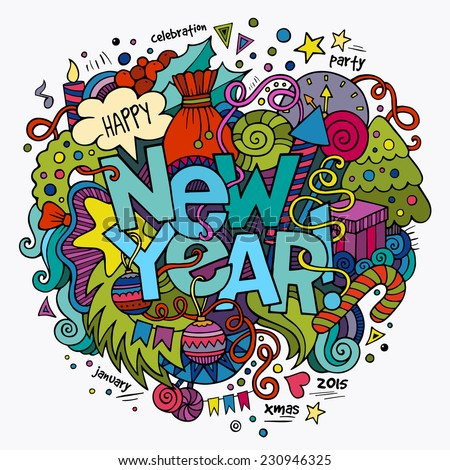 New year hand lettering and doodles elements background. Vector illustration - stock vector