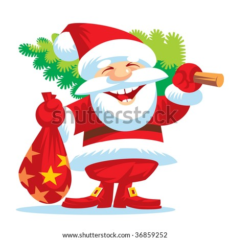 New year. Happy Santa Klaus - stock vector