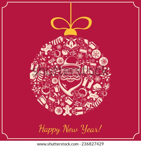 New year holiday background. Presents and decorations on backdrop. Greeting card template. Eps 10 vector illustration. - stock vector