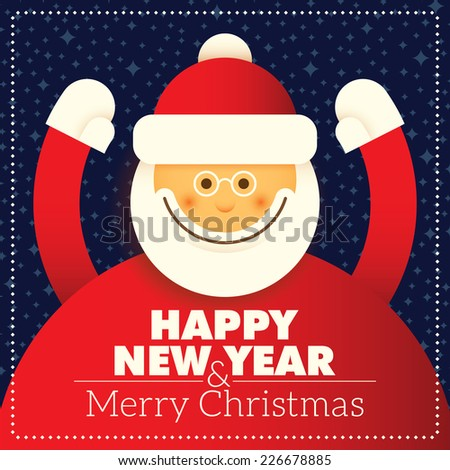 New Year illustration with comic Santa Claus. Vector illustration.