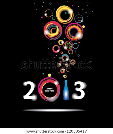 New year 2013 in black background. Abstract poster - stock vector