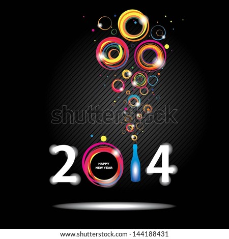 New year 2014 in black background. Abstract poster - stock vector