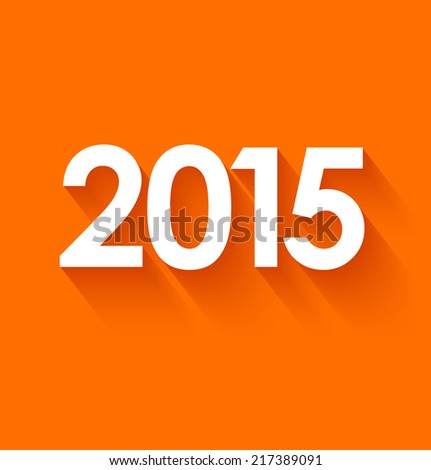 New year 2015 in flat style on orange background. Vector illustration