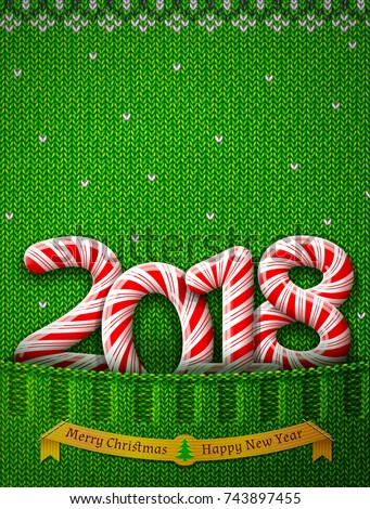 New Year 2018 in shape of candy stick in knitted pocket. Sweater fragment with year number as holiday candies. Vector image for new years day, christmas, sweet-stuff, winter holiday, new years eve