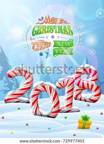 New Year 2018 in shape of candy stick in snow. Winter landscape with candies, gift box, congratulation. Vector image for new years day, christmas, sweet-stuff, winter holiday, new years eve, food, etc