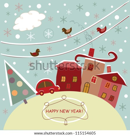 new year in the city - stock vector