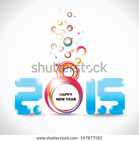 New year 2015 in white background. Abstract poster - stock vector