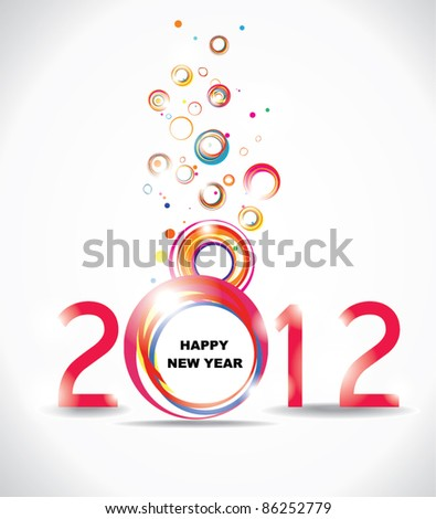 New year 2012 in white background. Abstract poster - stock vector