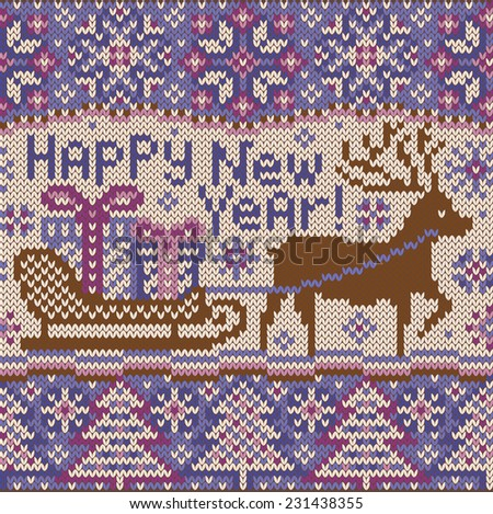 New year Knitted pattern with reindeer. Beautiful Christmas seamless border.  Northern style. Deer and sledge with gifts boxes. Creative vector illustration. - stock vector