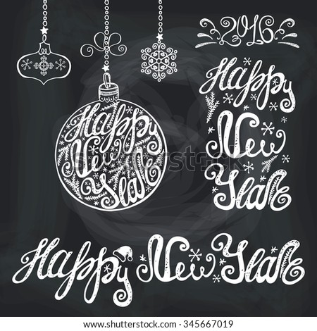 New Year lettering.Hand drawn vector typography.Congratulation card elements set. Handwriting title,balls shapes,garlands.Vintage isolated chalk  decor on Blackboard background. - stock vector