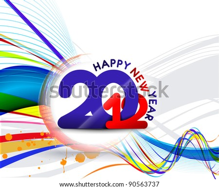 new year 2012 line background - stock vector