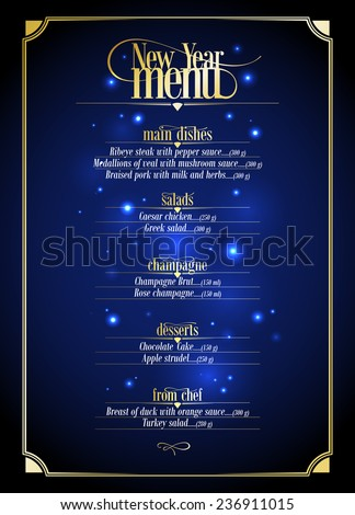 New Year menu list, dark blue with gold design with place for text. Eps10 - stock vector